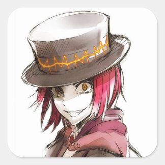 AnimeMammon djävulen av pengar Fyrkantigt Klistermärke