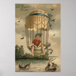Anka för ägg för luftballongpåsk färgad målad poster