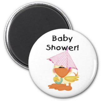 Anka med den rosa paraplybaby shower magnet rund 5.7 cm