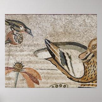Anka och fågel, Nile mosaik, hus av faunen Print
