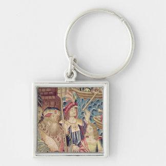 Ankomsten av Vasco da Gama i Calicut Fyrkantig Silverfärgad Nyckelring
