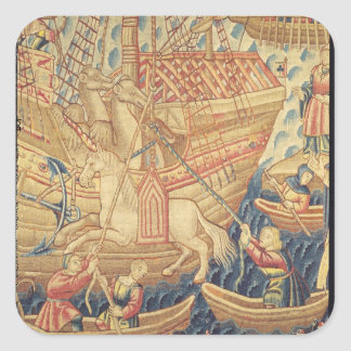 Ankomsten av Vasco de Gama i Calicut Fyrkantigt Klistermärke