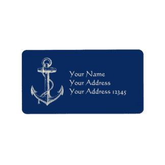 Ankra marinblå vit för den nautiska adressetikett