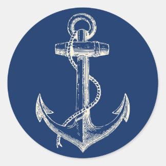 Ankra marinblå vit för den nautiska runt klistermärke