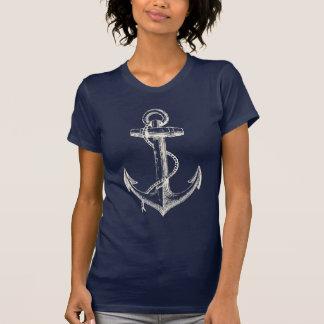 Ankra nautisk grafisk vit för blått för t-shirt