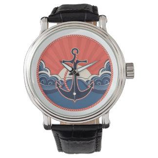 Ankra, och havet vinkar mönster armbandsur