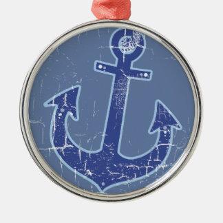 ankrar den nautiska sjömannen för blått julgransprydnad metall