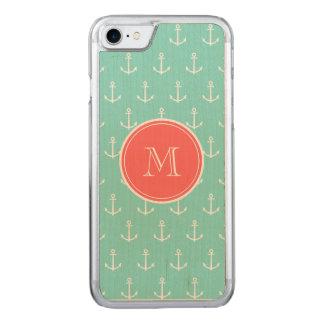 Ankrar grön vit för minten mönster, korallMonogram Carved iPhone 7 Skal
