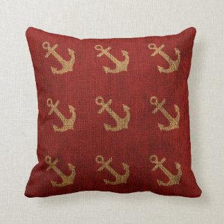 Ankrar lantligt rött kudde
