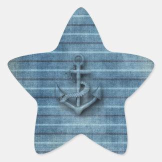 Ankrar nautiskt flott för vintage stjärnformat klistermärke