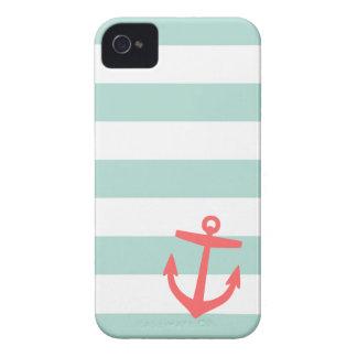 Ankrar nautiskt randar för Mint & för korall och iPhone 4 Case