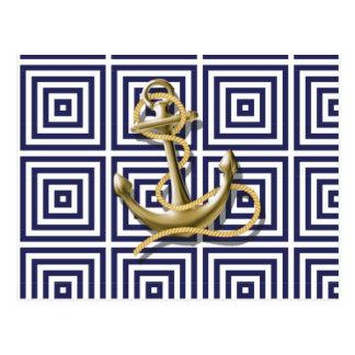 Ankrar preppy nautiskt för marinblått grekiskt vykort
