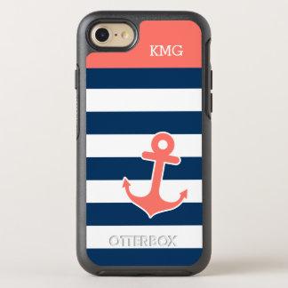 Ankrar randigt nautiskt för korallmarin Monograms OtterBox Symmetry iPhone 7 Skal