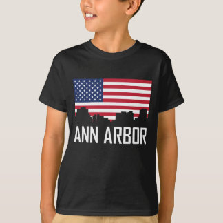 Ann Arbor Michigan horisontamerikanska flaggan T-shirts