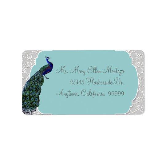AnnaLiese påfågeldamast - blått som matchar Adressetikett