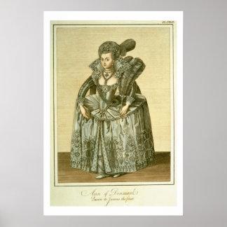 Anne av Danmark (1574-1619) fru av James mig, illu Poster
