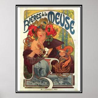 Annons för vintage affischAlphonse Mucha öl Poster