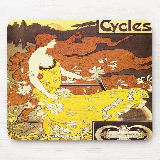 Annons för vintageart nouveaucykel mus mattor