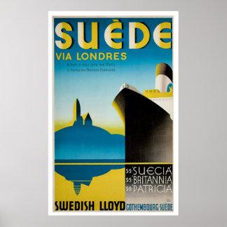 Annonsering för frakt för Suedesverigevintage Poster