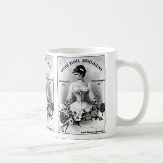 Annonsering för vintagesvenskkorsett kaffemugg