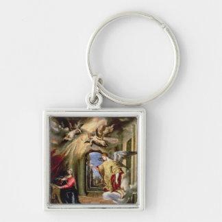 Annunciationen, c.1570-73 fyrkantig silverfärgad nyckelring