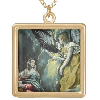 Annunciationen, c.1575 (olja på kanfas) guldpläterat halsband