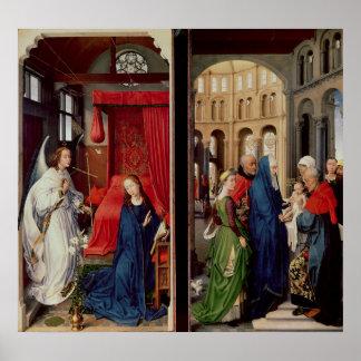 Annunciationen och presentationen i tempel poster
