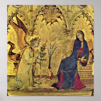 Annunciationen specificerar vid Simone Martini Poster