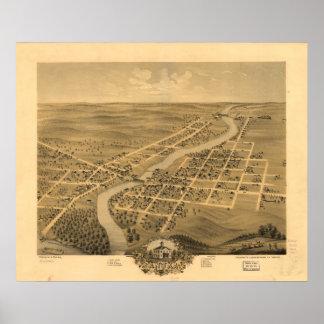 Anoka Minnesota 1869 antika panorama- karta Poster