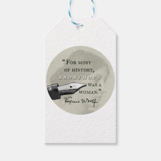 Anonym var en circl för det kvinna~-Virginia Woolf Presentetikett
