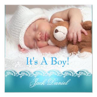 Anouncement för blåttnyfödd bebispojke foto fyrkantigt 13,3 cm inbjudningskort