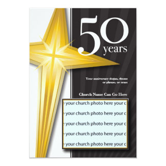 Anpassade 50 år kyrkaårsdag 12,7 x 17,8 cm inbjudningskort