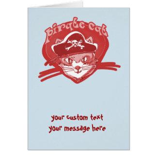 anpassade för tecknad för piratkatt rolig hälsningskort