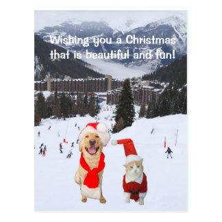 Anpassade med hunden & katten i alperna vykort