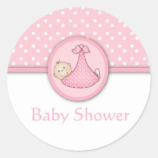 Anpassadebaby showerklistermärkear runt klistermärke