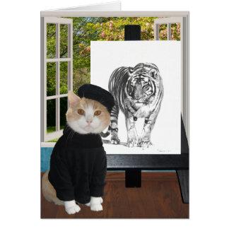 Anpassadefödelsedag för konstnär- & kattälskare hälsningskort