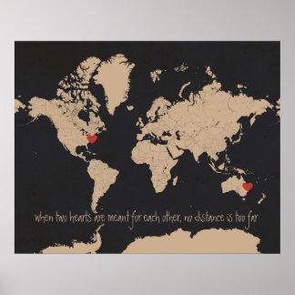 Anpassadekärlek- & avståndsvärldskarta poster