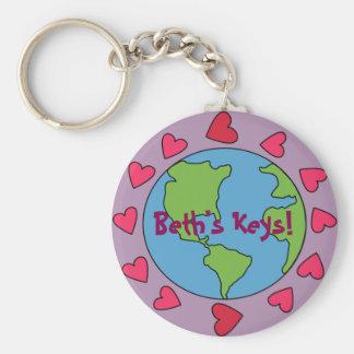 Anpassadet personifierade mig älskar jord Keychain Rund Nyckelring