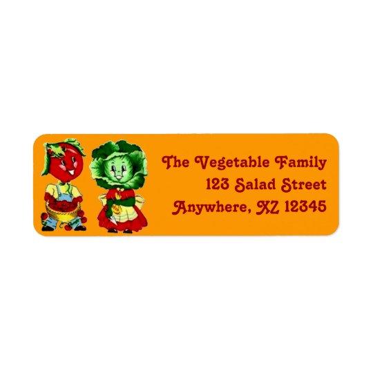 Anpassadevintagegrönsaken kopplar ihop returadress etikett