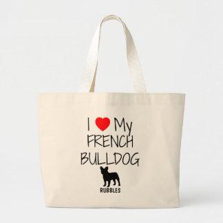 Anpassningsbar älskar jag min franska bulldogg jumbo tygkasse