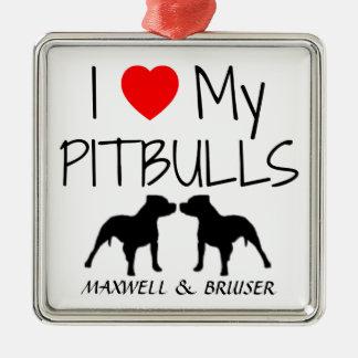 Anpassningsbar älskar jag min Pitbulls Julgransprydnad Metall