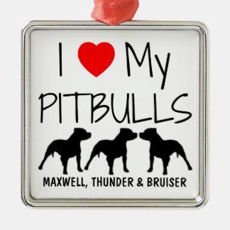 Anpassningsbar älskar jag min tre Pitbulls Julgransprydnad Metall