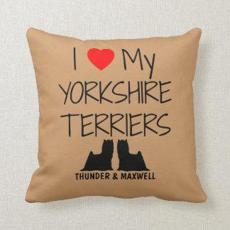 Anpassningsbar älskar jag min två Yorkshire Kudde