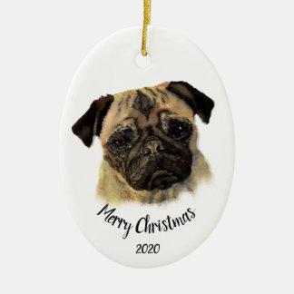 Anpassningsbar daterat husdjur för hund för julgransprydnad keramik