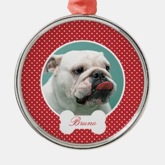 Anpassningsbar dina hundar foto och namnjulprydnad rund silverfärgad julgransprydnad