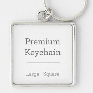 Anpassningsbar kvadrerar Keychain Fyrkantig Silverfärgad Nyckelring
