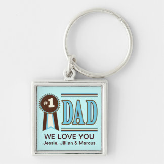 Anpassningsbar numrerar en pappa fars dag Keychain Fyrkantig Silverfärgad Nyckelring