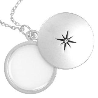 Anpassningsbar Silver Pläterat Berlock Halsband Med Rund Berlock