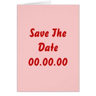 Anpassningsbar sparar datera. Rött och rosa Hälsningskort