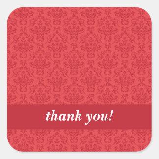 Anpassningsbar tackar dig röda lyxiga damastast fyrkantigt klistermärke